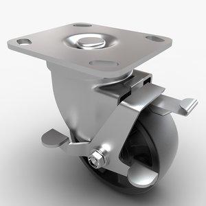 caster wheel 3d max