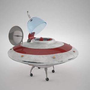 3d cartoon flying saucer model