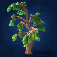 Lowpoly Fantasy Cartoon Game Tree 02