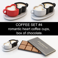 Coffee set #4: romantic heart coffee cup, box of chocolate (high poly models, ready for you coffeetable)