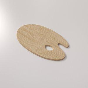 wooden artist palette 3d model