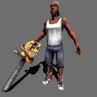 3ds rigged guy chainsaw