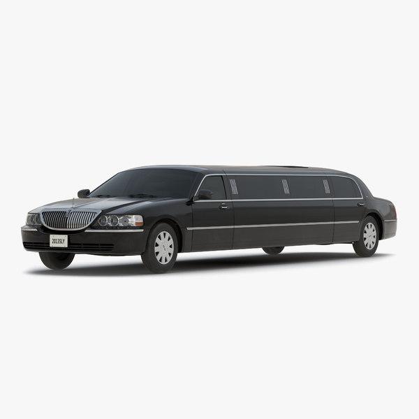 3d stretch car limousine black