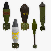 5 mortar shells low poly