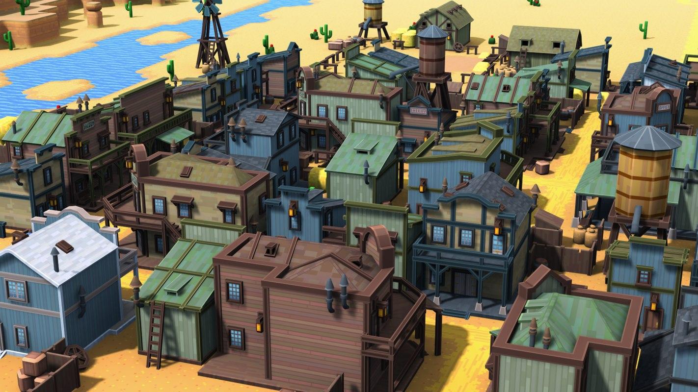 3d model of pixel western town