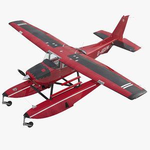 cessna 172 red seaplane 3d 3ds