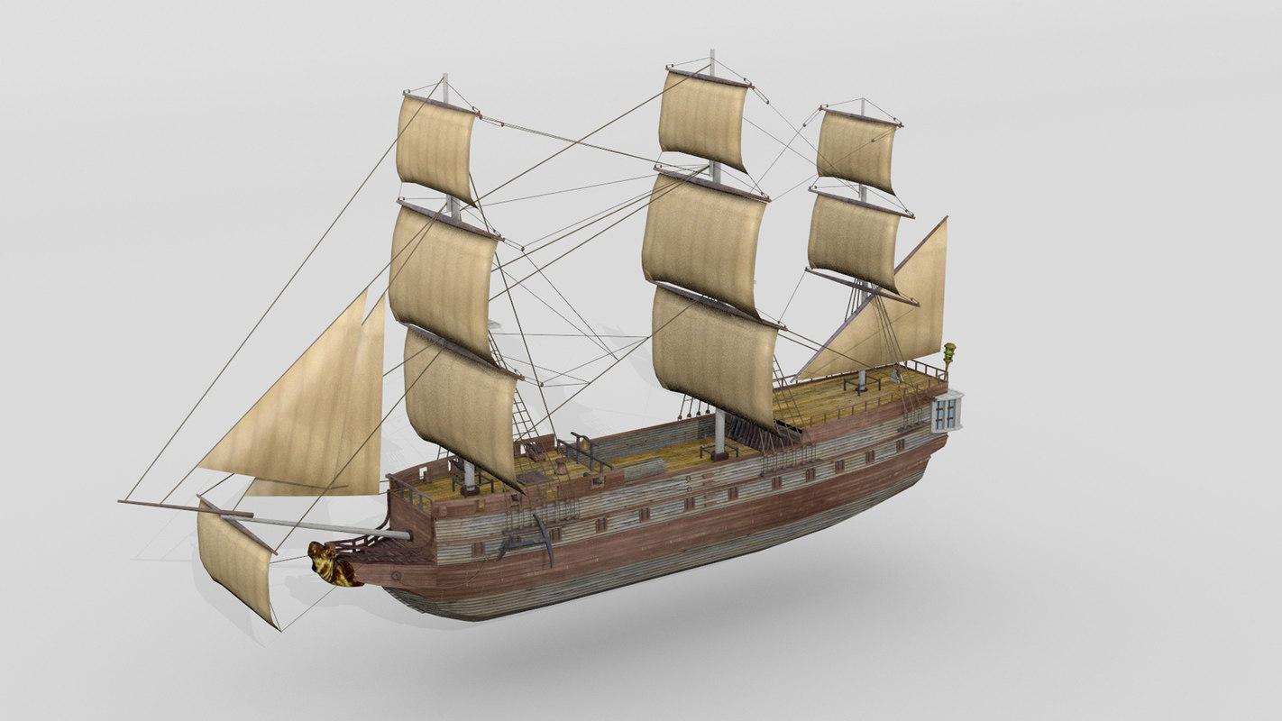 3d model historical french sailship