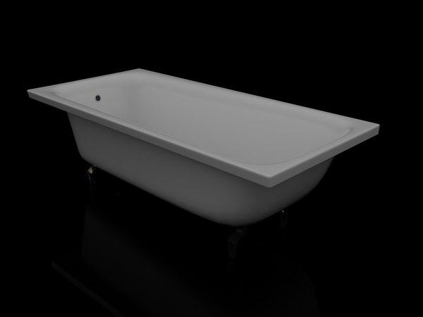 3d model ordinary steel bath