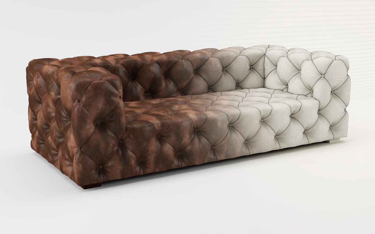 3d tufted leather sofa model