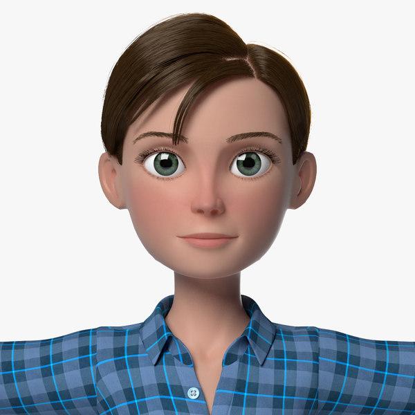 grace cartoon girl woman female 3d ma