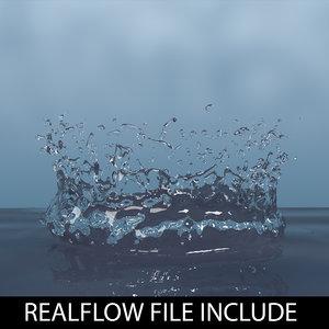3d model droplet realflow flow