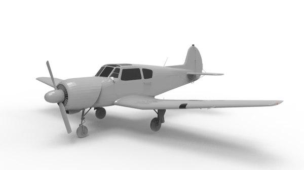 yak-18t soviet aircraft 3d model