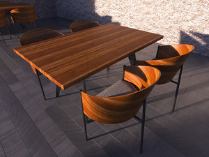 3d set dining table chair