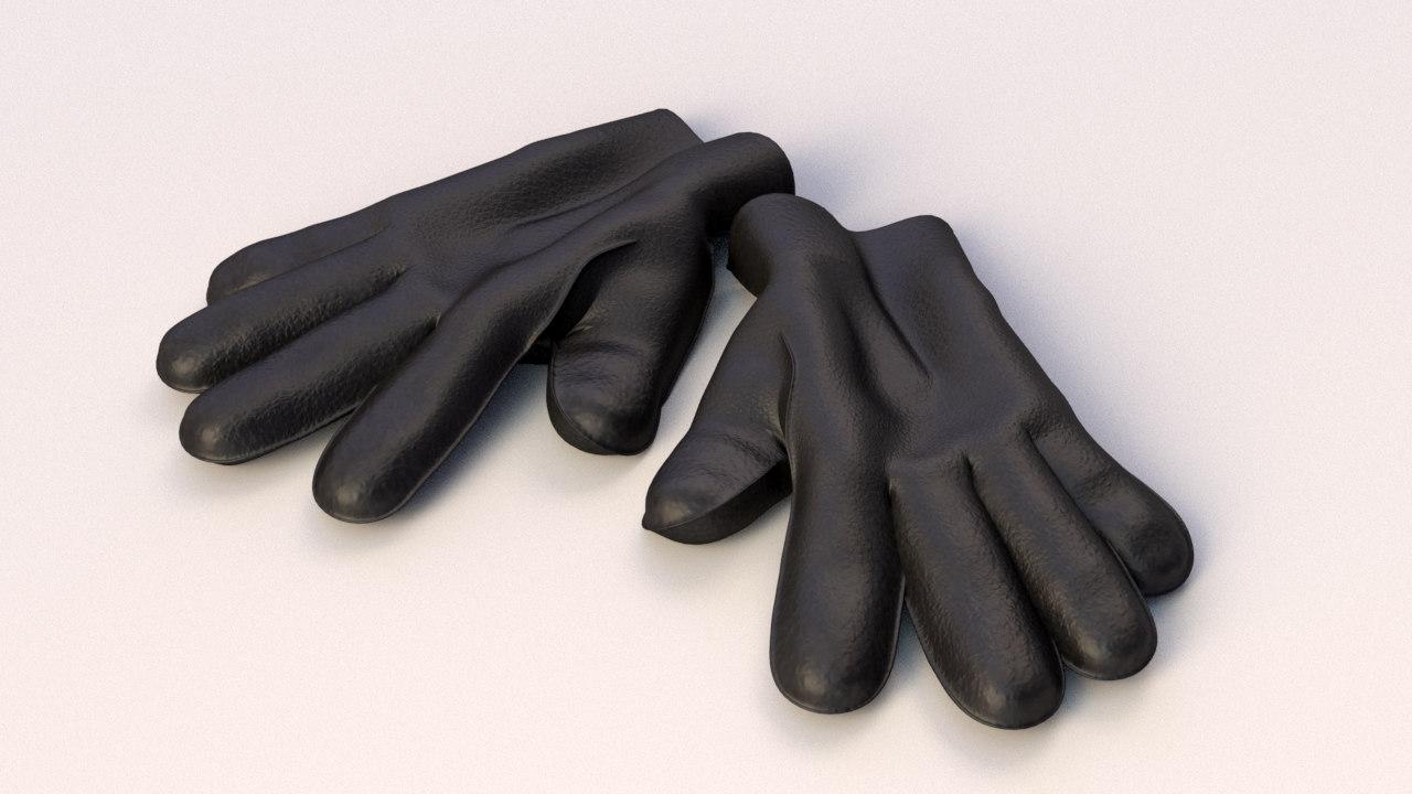 3d model of leather gloves