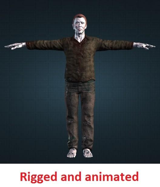 3d male zombie model