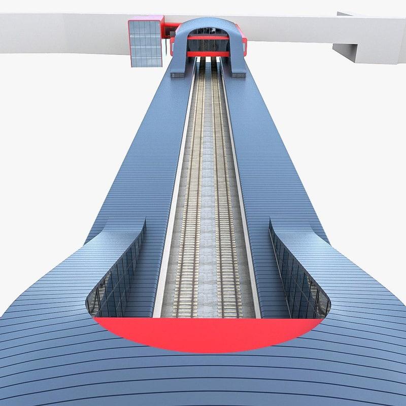 3d urban railway station model
