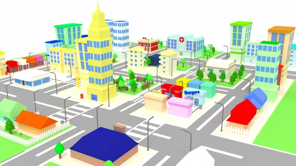 cartoon city buildings houses 3d obj