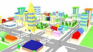 cartoon city buildings houses 3d obj