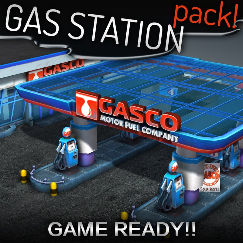 3d model gas station pack -