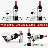 Red wine set #2: Chateau Mouton Rothschild bottle, glass, tray, wine holder \ stand (high poly models)