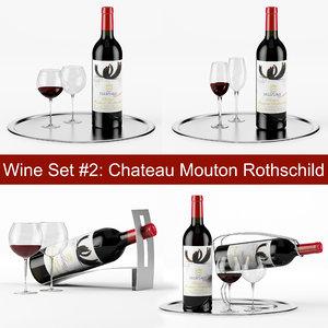 red wine set chateau 3d model