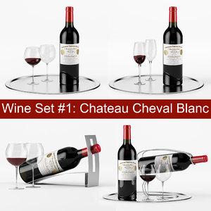 3d wine set bottle tray model