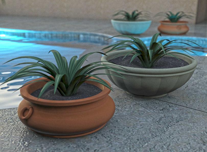 3d tuscan outdoor pot plant model