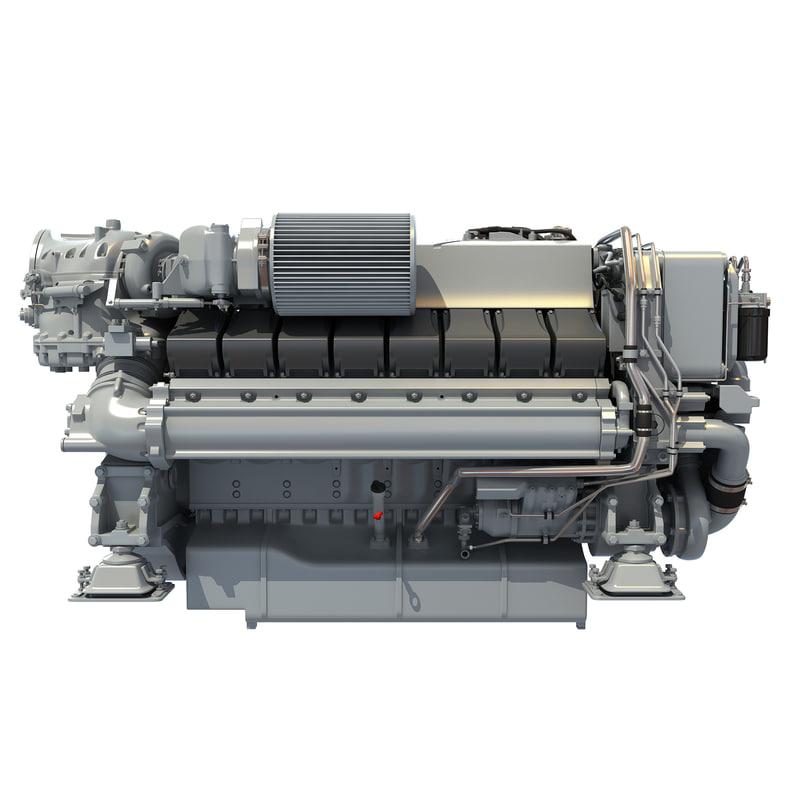 3d model realistic diesel marine engine