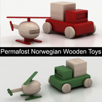 Permafrost Norwegian Wooden Toys: helicopter & car (pickup)