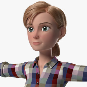 grace cartoon girl woman female 3d model