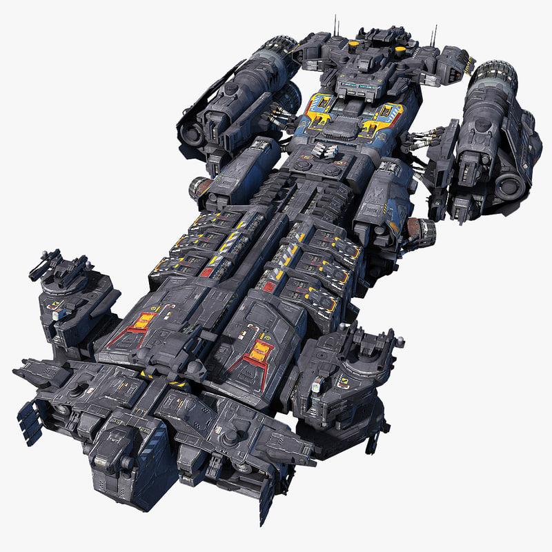 support frigate scifi 3d model