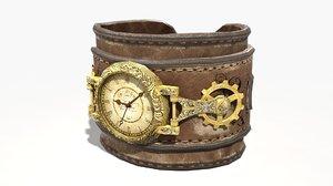 steampunk leather wrist watch obj