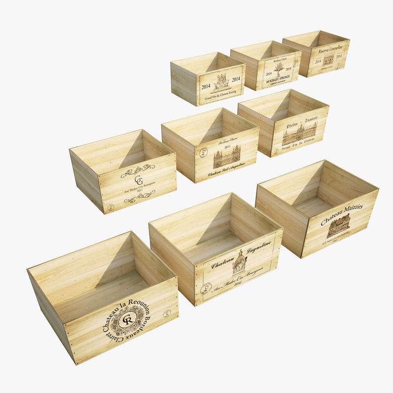 3d model vintage wine crates