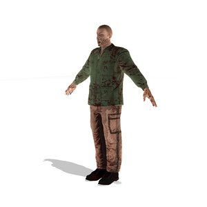 3d model zombie man rigged