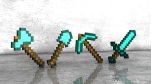free sword shovel axe 3d model