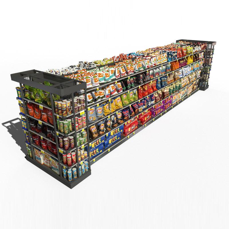 store shelf chips 3d model