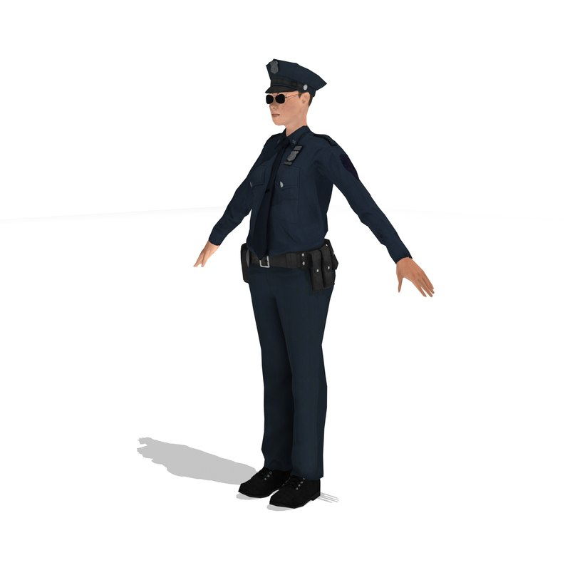 police woman rigged 3d model
