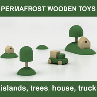 Permafost Norwegian Wooden Toy set #4 islands, trees, house, truck (ready for children room)