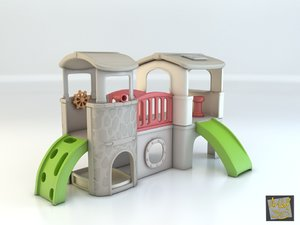 3d model toy house club step