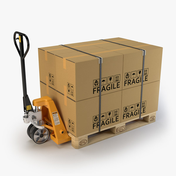 3d hand pallet truck cardboard boxes