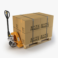 Hand Pallet Truck with Pallet and Boxes