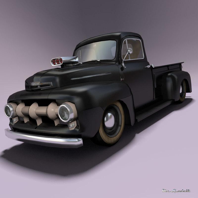 pickup hot rod 3d model