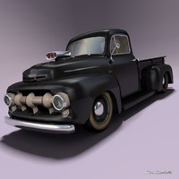 pickup hot rod 3d model