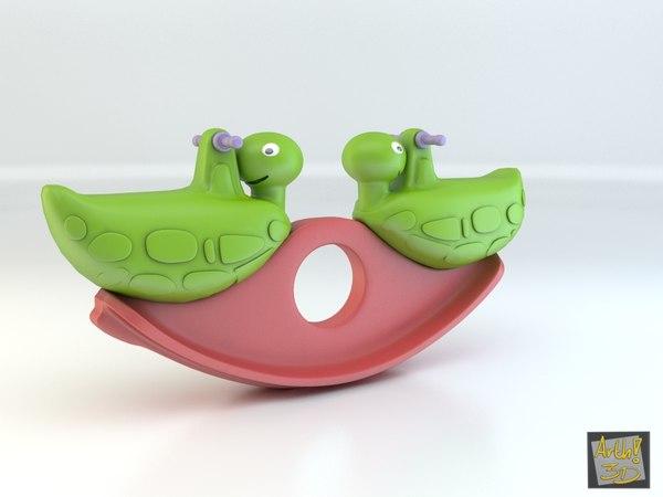 3d model plastic turtle seesaw