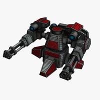 3d sci-fi mini gun