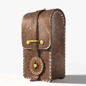 3d steampunk leather pouch