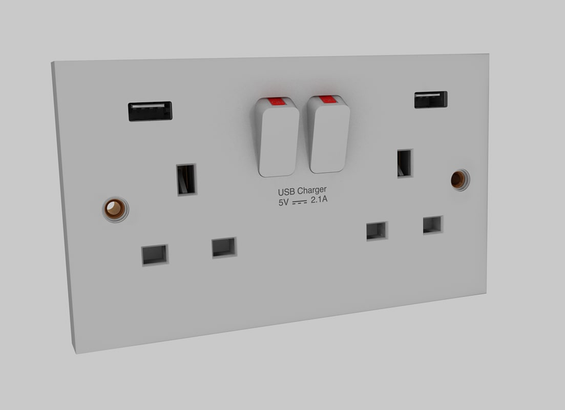 switched socket 3d model