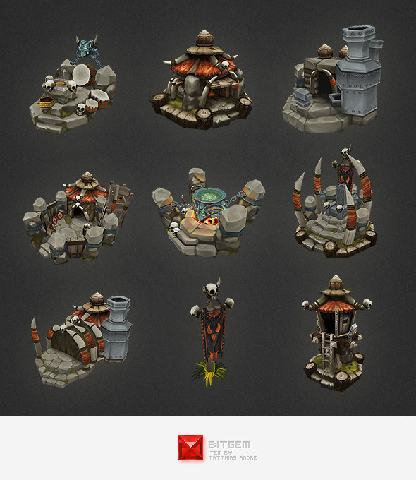 hand painted orc building 3d model