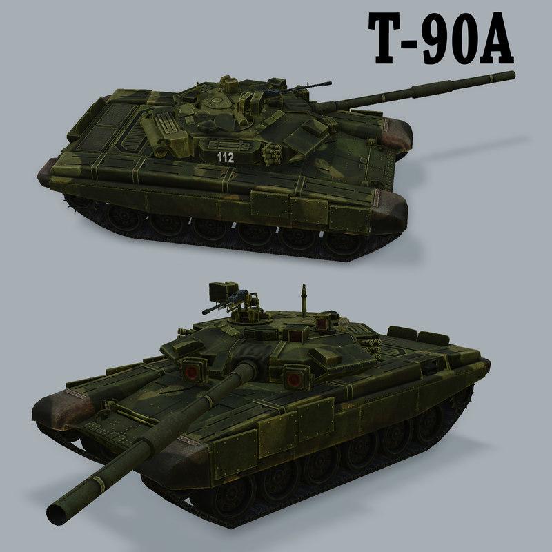 russian battle tank t90a 3d model