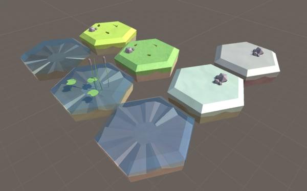 blend hexagon grass tiles